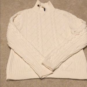 Chaps cream cable chunky knit sweater size medium